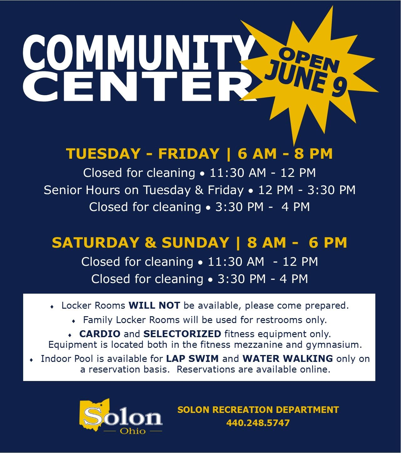 Community Center ReOpen Hours