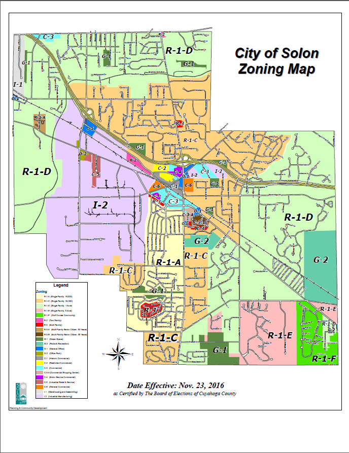 Map showing city zoning districts