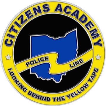 Citizens Academy Police Line coin with state of Ohio border in center