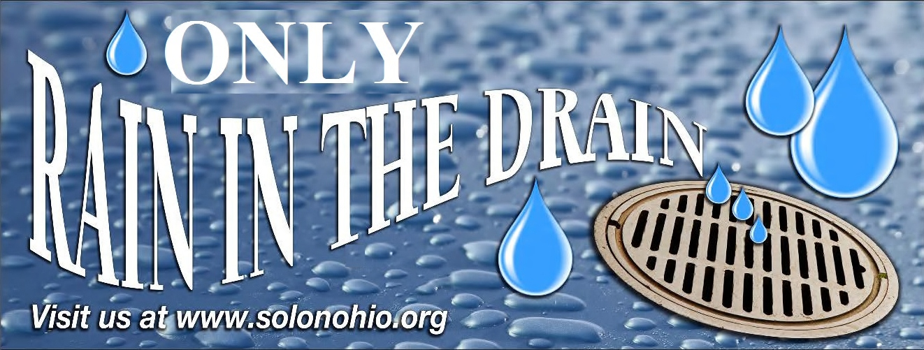 Only Rain in the Drain Banner with rain drops and storm drain
