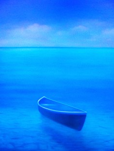 Aquamarine Dream painting of boat on water