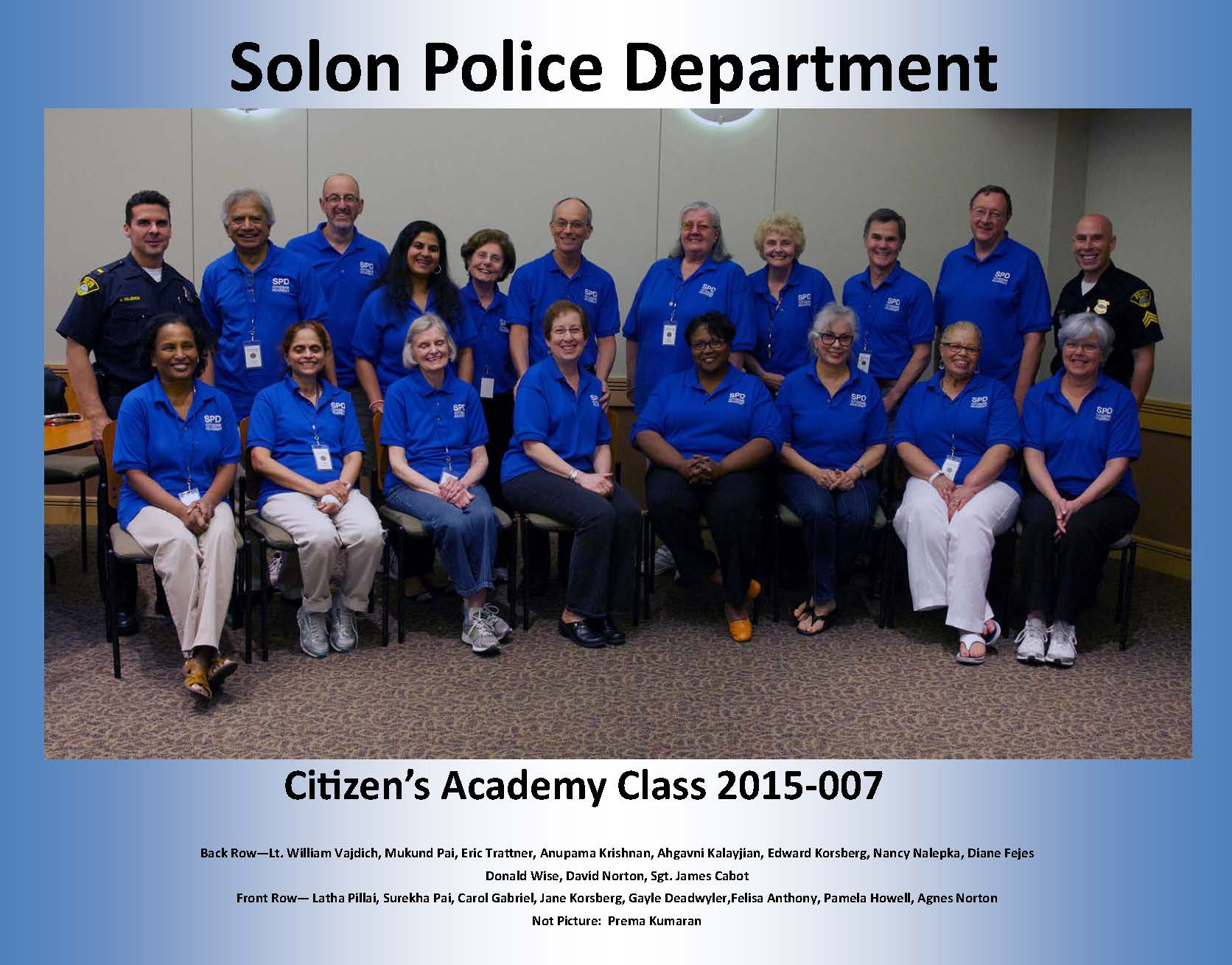 Citizens Academy Photo Spring 2015