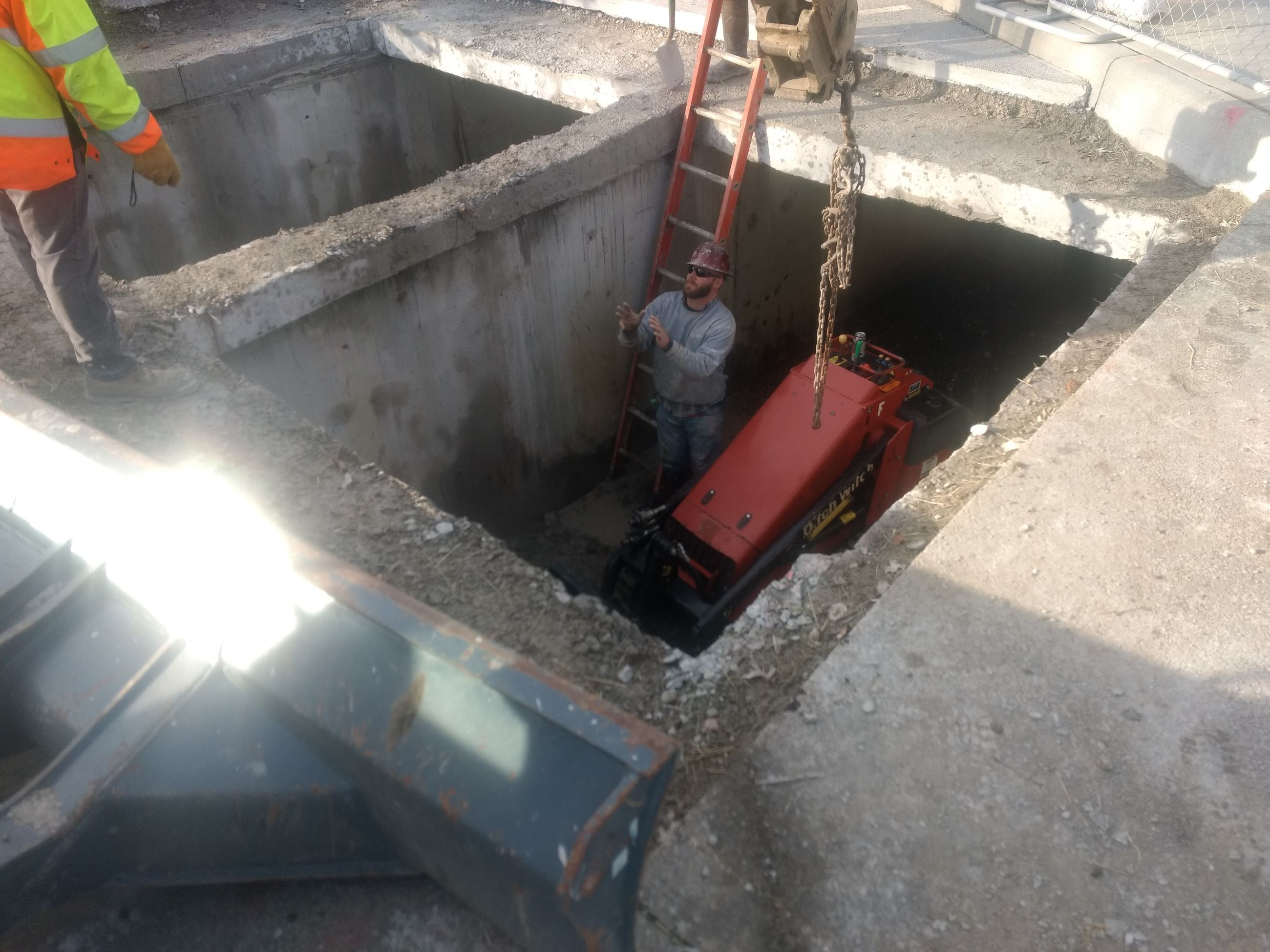 Bainbridge Culvert Access area - lowering mini skid steer