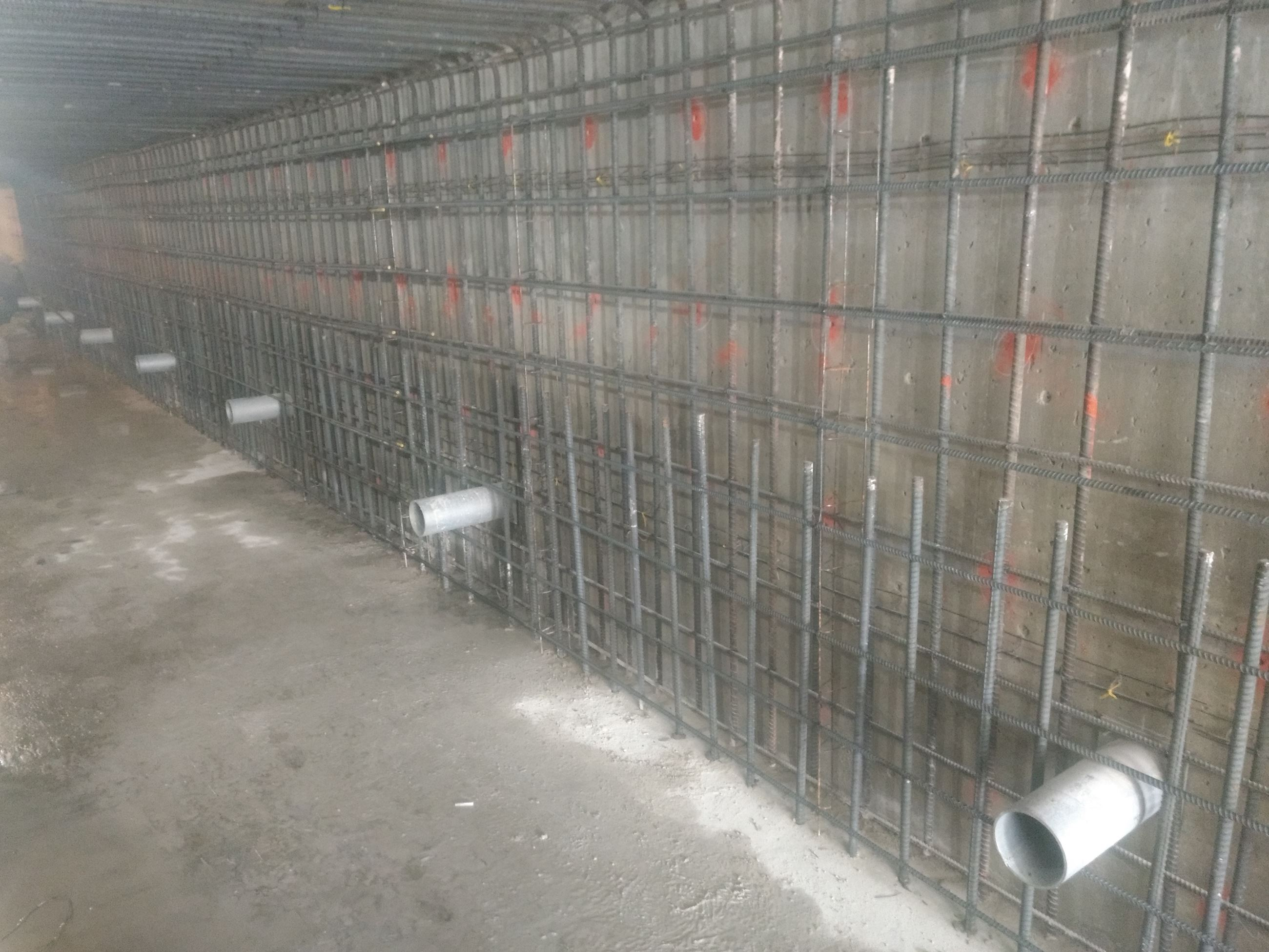 Bainbridge Culvert East wall inner rebar mat tied