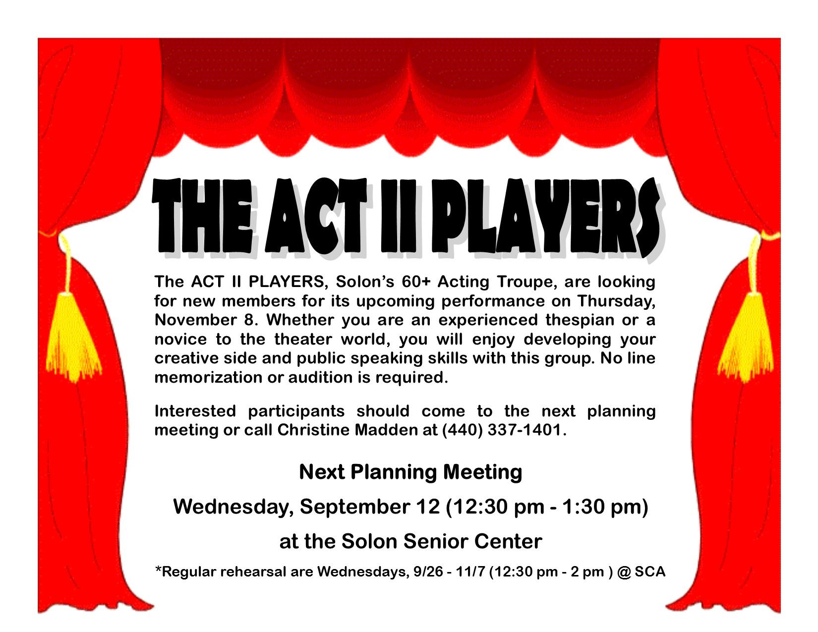 ACT II PLAYERS FLYER_9-12 Meeting